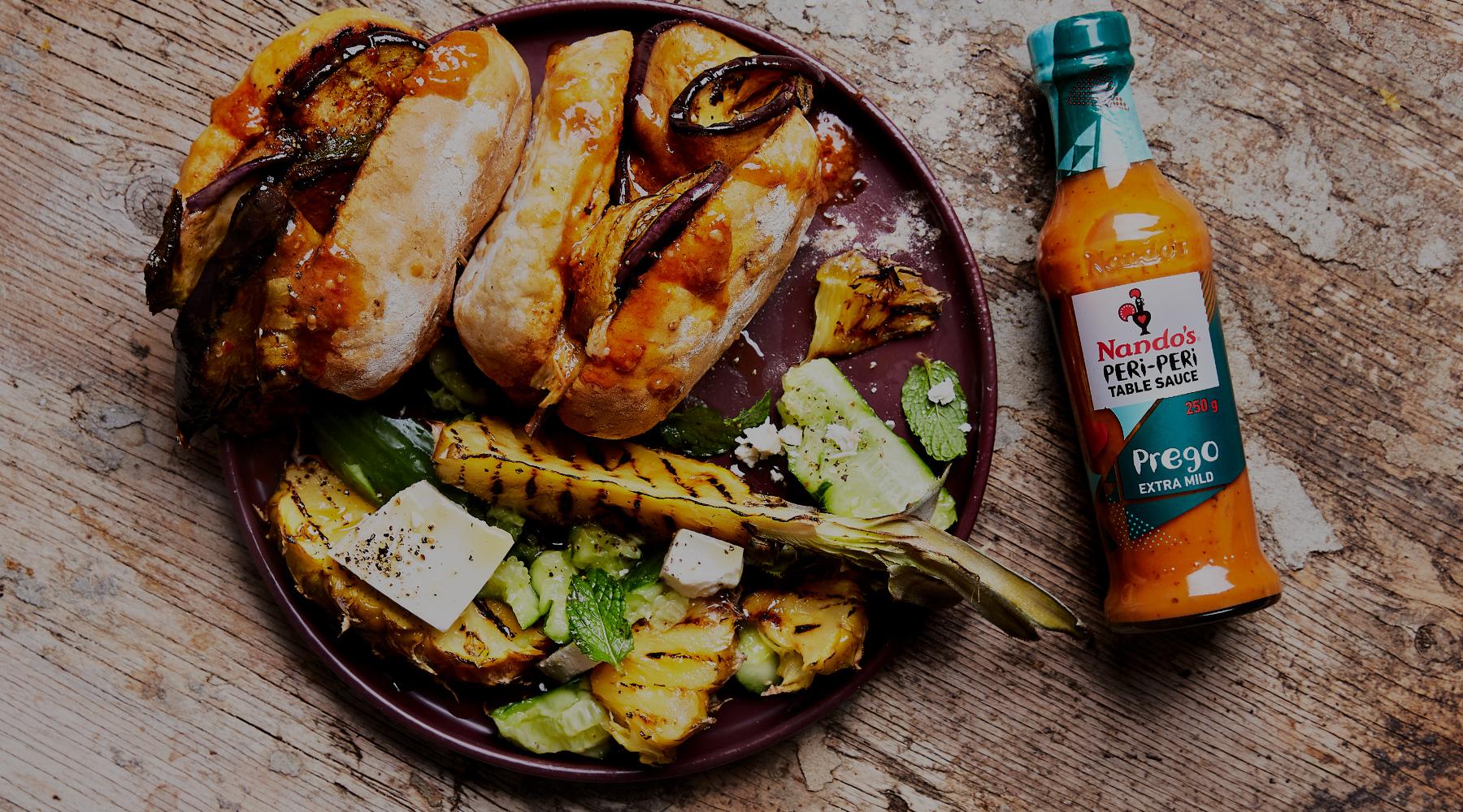 Chicken or Aubergine Prego Rolls