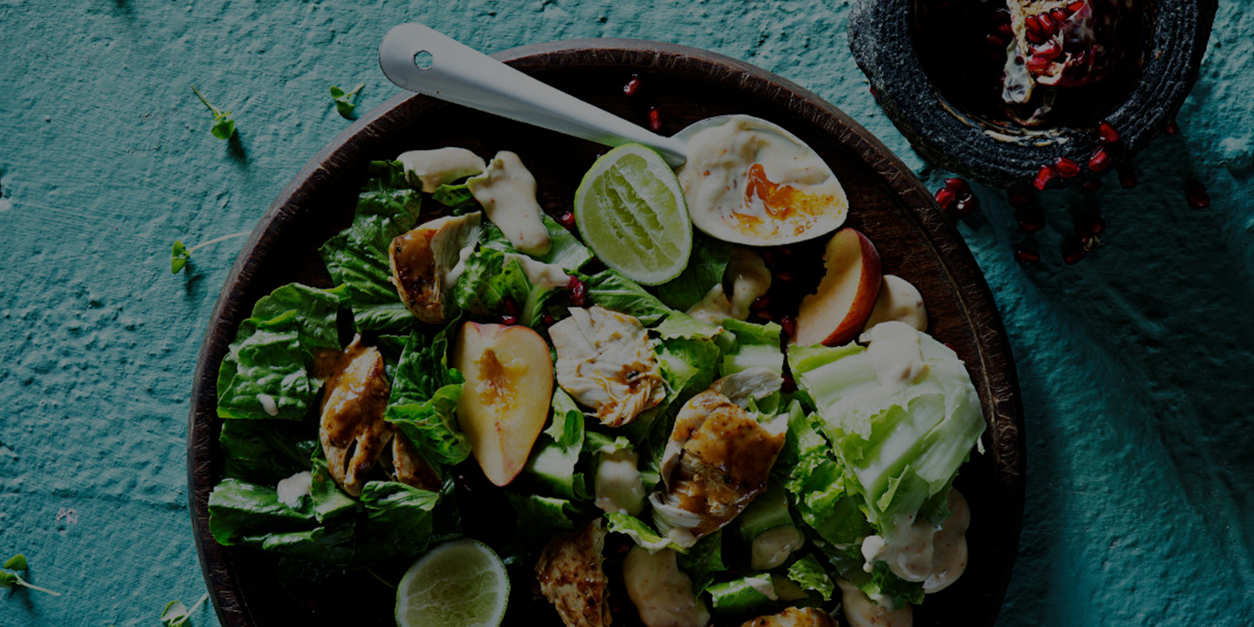 Portuguese chicken Caesar salad and PERinaise