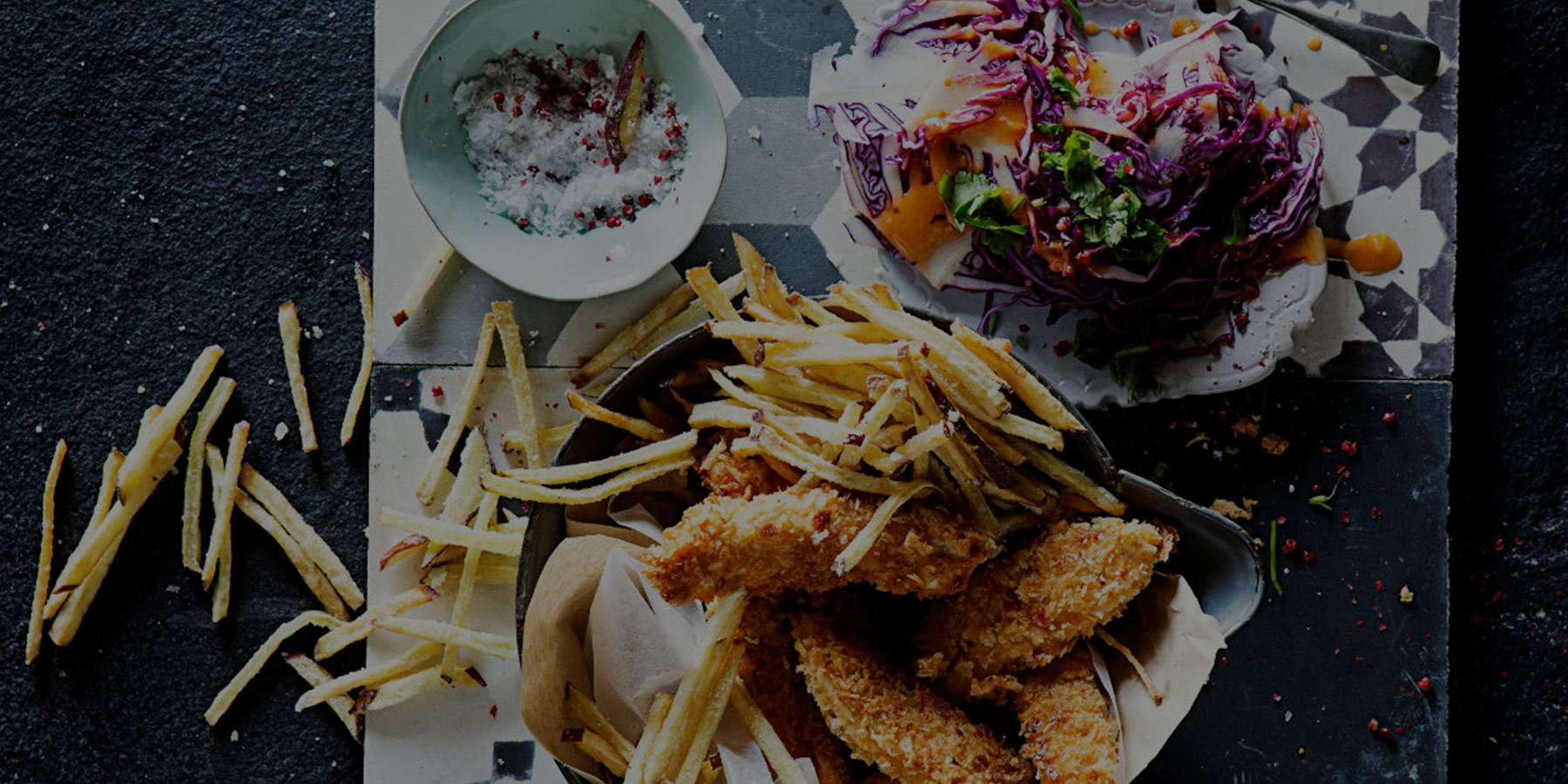 Crispy crumbed chicken fillets with skinny sweet potato fries
