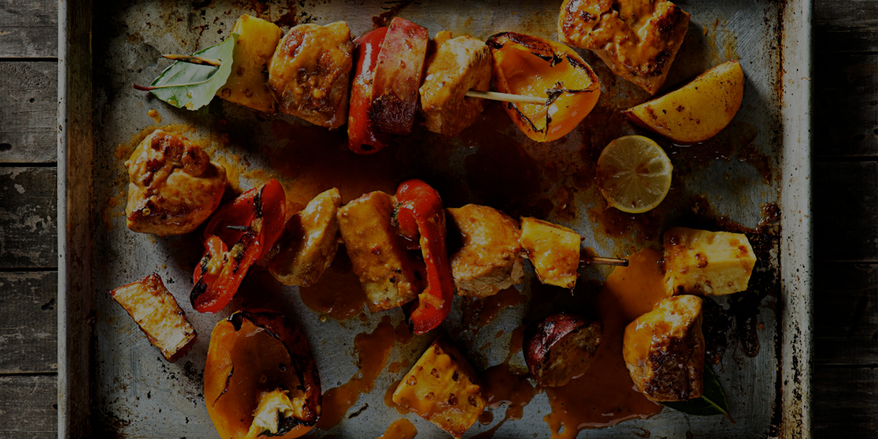 Chicken, pineapple and sweet potato kebabs