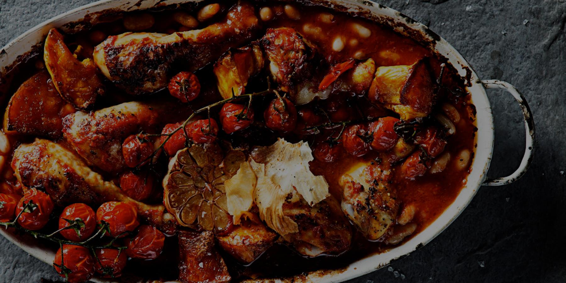 Spicy chicken drumsticks and butternut bake